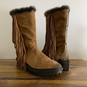 Sam Edelman Tilden Brown Faux Fur Fringe Boots 9